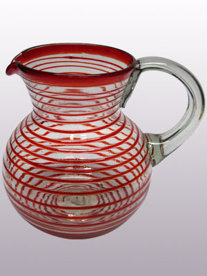 COLORED RIM GLASSWARE / 'Ruby Red Spiral' blown glass pitcher